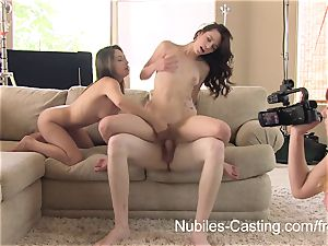 Nubiles audition - An unexpected 3 way for nubile