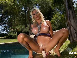 Puma Swede site her cunt on her private fuck stick outdoor