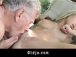mischievous ash-blonde entices older guy to bang