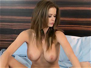 hottie Emily Addison enjoys pinching her hard puffies