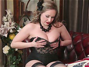 inborn hefty cupcakes brunette Sophia Delane wanks in nylons