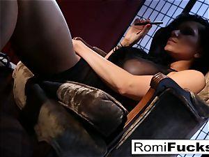 Romi Rain faux-cocks herself