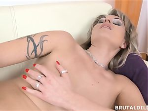 Tattood blonde Laura cumming from a truly ginormous fuck stick