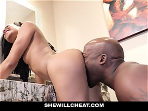 SheWillCheat - hotwife wifey ravages big black cock in douche
