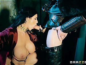 Jon pummels the crimson Priestess in the dungeon