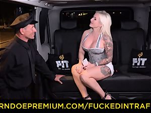 pounded IN TRAFFIC - spunky blondes car triangle smashing