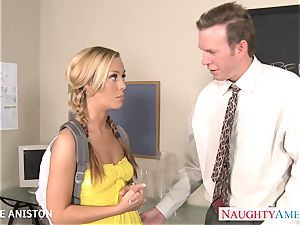 ponytailed Nicole Aniston suck spear in classroom