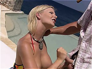 Tarra providing awesome oral by the sea
