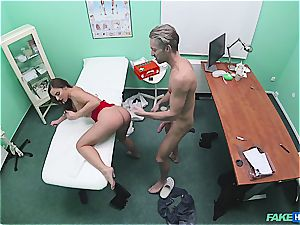 faux health center handsome bootie patient with smooth-shaven pussy