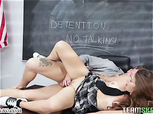 tutor bangs his schoolgirl Ariana Grand on the desk