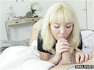 platinum-blonde step sister fellates her sleeping brother's cock