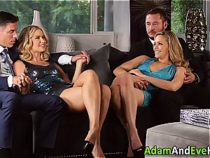 glamour couple and jizz interchange with super-fucking-hot blondes