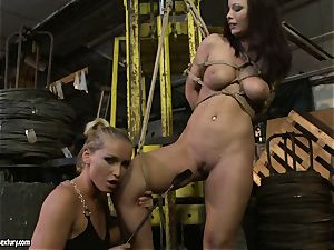 Kathia Nobili slapping the backside of super hot female with crop