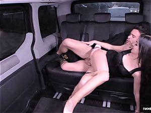 boned IN TRAFFIC - German Lullu Gun porks in the car