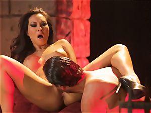 Asa Akira gets her super-fucking-hot lips round a huge lengthy manhood