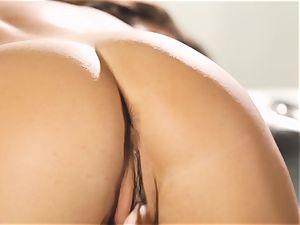 Eva Lovia fondles her antsy pleasure button till she pops