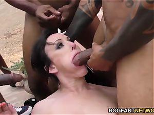 Jennifer milky chokes And Gags on black penises