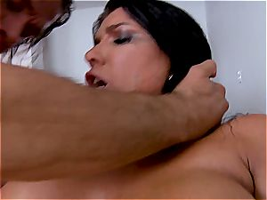 Vicki chase and Romi Rain get frantically plumbed by a rock-hard chode