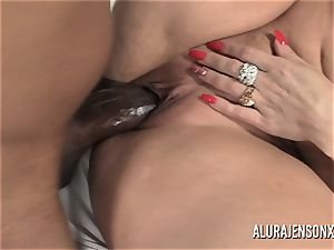 enormous knocker pornographic star Alura Jenson enjoys phat black beef whistle