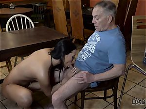 DADDY4K. Angry guy catches aged daddy nailing his good-looking gal