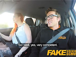 faux Driving school spectacular redhead lusts after humungous man sausage