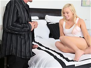 Bailey Brooke bouncing on her pals father large man sausage