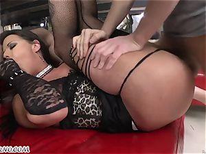 fabulous tramp in stockings bj's trio boners and takes them in her crevasses