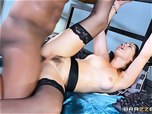 Dani Daniels takes this giant ebony man sausage with relief