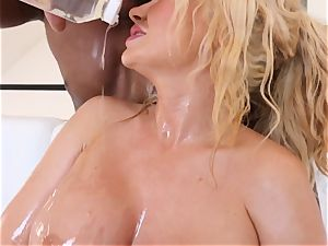 huge-boobed towheaded Summer Brielle nailed deep in her oily cunny